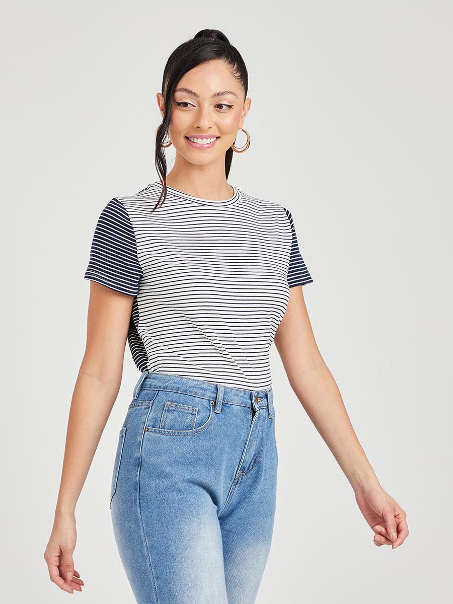 - Short Sleeves Striped Colorblock Knitted Regular T-shirt